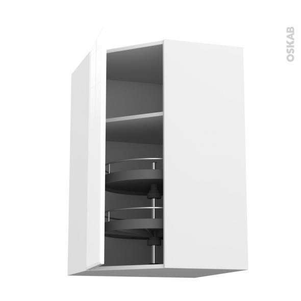IRIS Blanc - Meuble angle haut - Tourniquet 1 porte N°23 L40 - L65xH92xP37