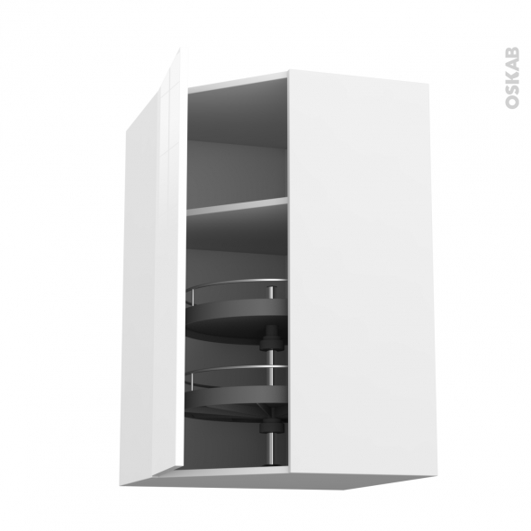 STECIA Blanc - Meuble angle haut - Tourniquet 1 porte N°23 L40 - L65xH92xP37