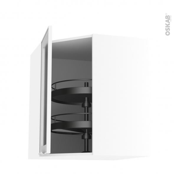 Meuble de cuisine - Angle haut vitré - Façade blanche alu - Tourniquet 1 porte N°19 L40 cm - L65 x H70 x P37 cm - SOKLEO