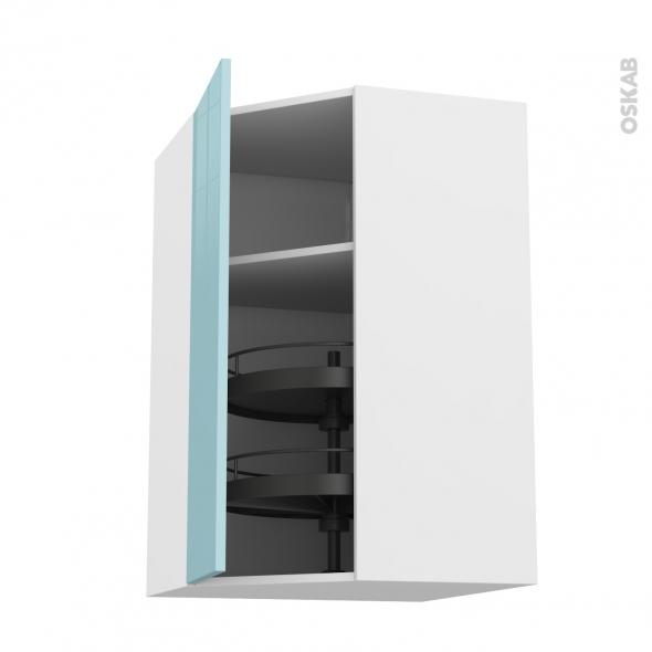 Meuble de cuisine - Angle haut - KERIA Bleu - Tourniquet 1 porte N°23 L40 cm - L65 x H92 x P37 cm