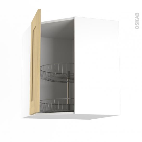 BASILIT Bois Vernis - Meuble angle haut - Tourniquet 1 porte N°23 L40 - L65xH92xP37
