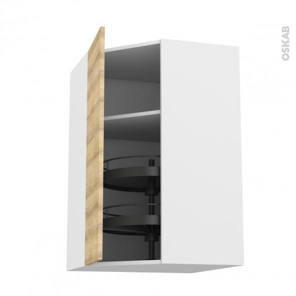 Meuble de cuisine - Angle haut - HOSTA Chêne naturel - Tourniquet 1 porte N°23 L40 cm - L65 x H92 x P37 cm