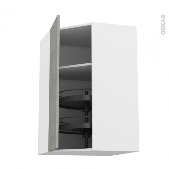 FAKTO Béton - Meuble angle haut - Tourniquet 1 porte N°19 L40 - L65xH70xP37