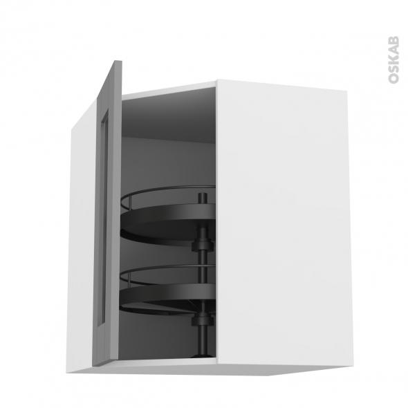 Meuble de cuisine - Angle haut vitré - FILIPEN Gris - Tourniquet 1 porte N°83 L40 cm - L65 x H70 x P37 cm
