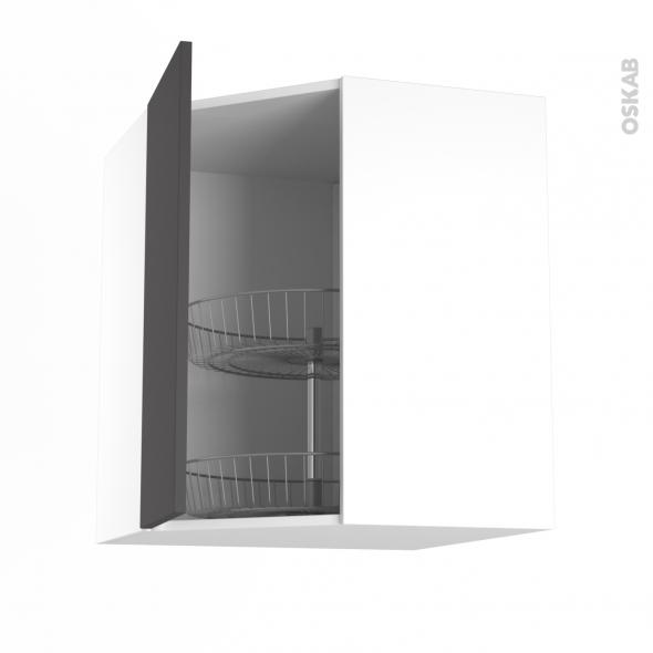 GINKO Gris - Meuble angle haut - Tourniquet 1 porte N°19 L40 - L65xH70xP37