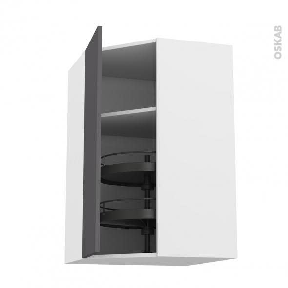 Meuble de cuisine - Angle haut - GINKO Gris - Tourniquet 1 porte N°19 L40 cm - L65 x H70 x P37 cm