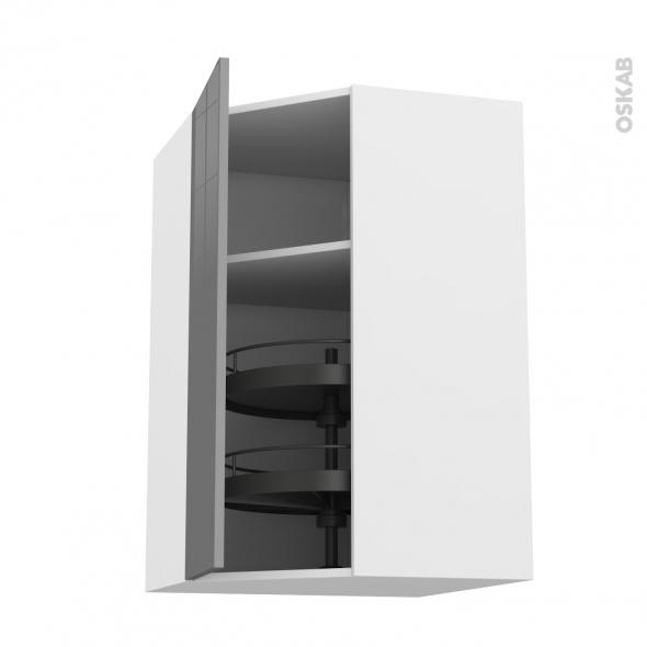 Meuble de cuisine - Angle haut - STECIA Gris - Tourniquet 1 porte N°23 L40 cm - L65 x H92 x P37 cm