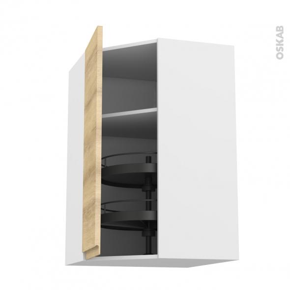 Meuble de cuisine - Angle haut - IPOMA Chêne naturel - Tourniquet 1 porte N°85 L40 cm - L65 x H70 x P37 cm