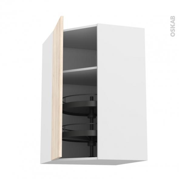 Meuble de cuisine - Angle haut - IKORO Chêne clair - Tourniquet 1 porte N°19 L40 cm - L65 x H70 x P37 cm