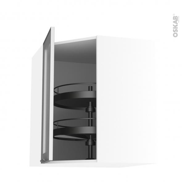 Meuble de cuisine - Angle haut vitré - Façade alu - Tourniquet 1 porte N°19 L40 cm - L65 x H70 x P37 cm - SOKLEO