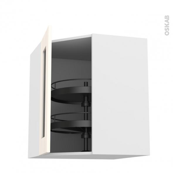 Meuble de cuisine - Angle haut vitré - FILIPEN Ivoire - Tourniquet 1 porte N°83 L40 cm - L65 x H70 x P37 cm
