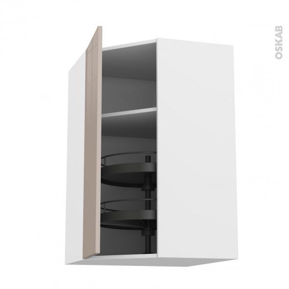 Meuble de cuisine - Angle haut - KERIA Moka - Tourniquet 1 porte N°19 L40 cm - L65 x H70 x P37 cm