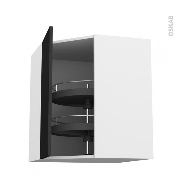 GINKO Noir - Meuble angle haut - Tourniquet 1 porte N°19 L40 - L65xH70xP37