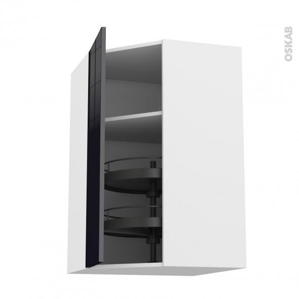Meuble de cuisine - Angle haut - KERIA Noir - Tourniquet 1 porte N°19 L40 cm - L65 x H70 x P37 cm