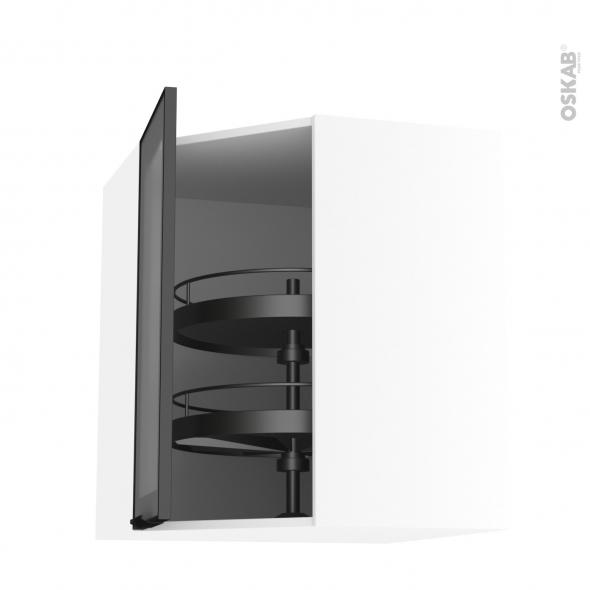 Meuble de cuisine - Angle haut vitré - Façade noire alu - Tourniquet 1 porte N°19 L40 cm - L65 x H70 x P37 cm - SOKLEO