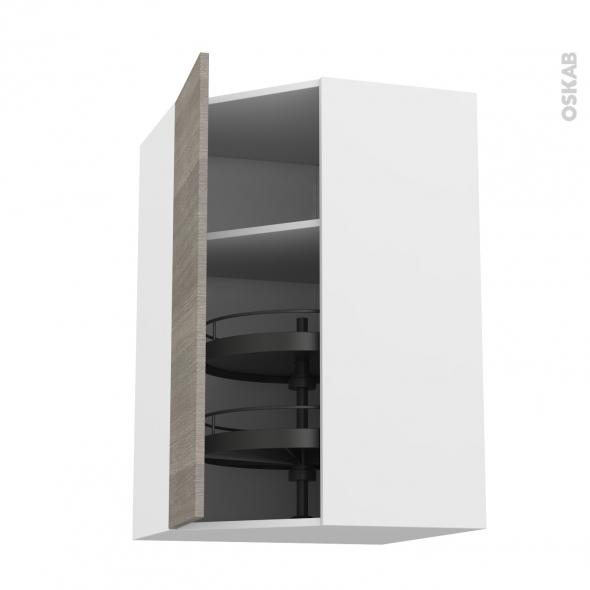 Meuble de cuisine - Angle haut - STILO Noyer Naturel - Tourniquet 1 porte N°23 L40 cm - L65 x H92 x P37 cm