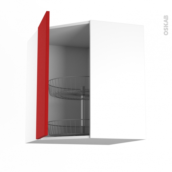 GINKO Rouge - Meuble angle haut - Tourniquet 1 porte N°19 L40 - L65xH70xP37
