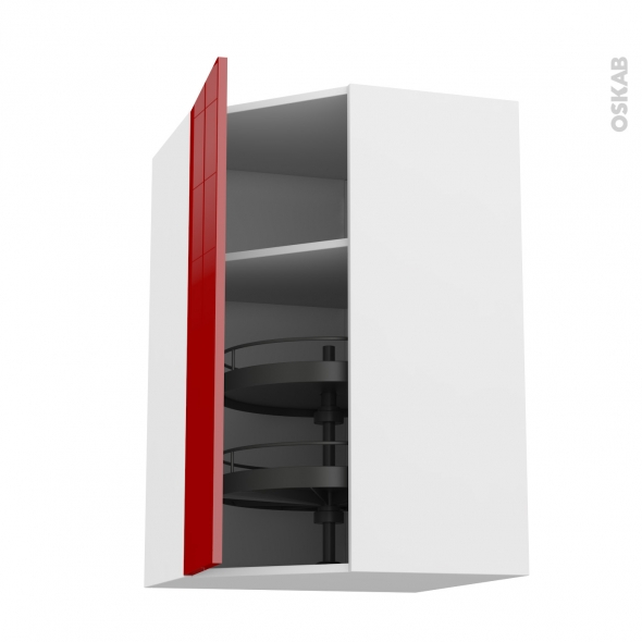 Meuble de cuisine - Angle haut - STECIA Rouge - Tourniquet 1 porte N°23 L40 cm - L65 x H92 x P37 cm