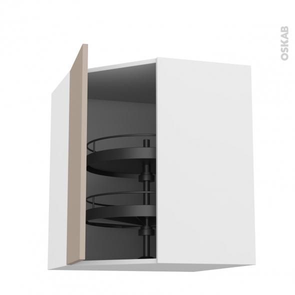 Meuble de cuisine - Angle haut - GINKO Taupe - Tourniquet 1 porte N°19 L40 cm - L65 x H70 x P37 cm