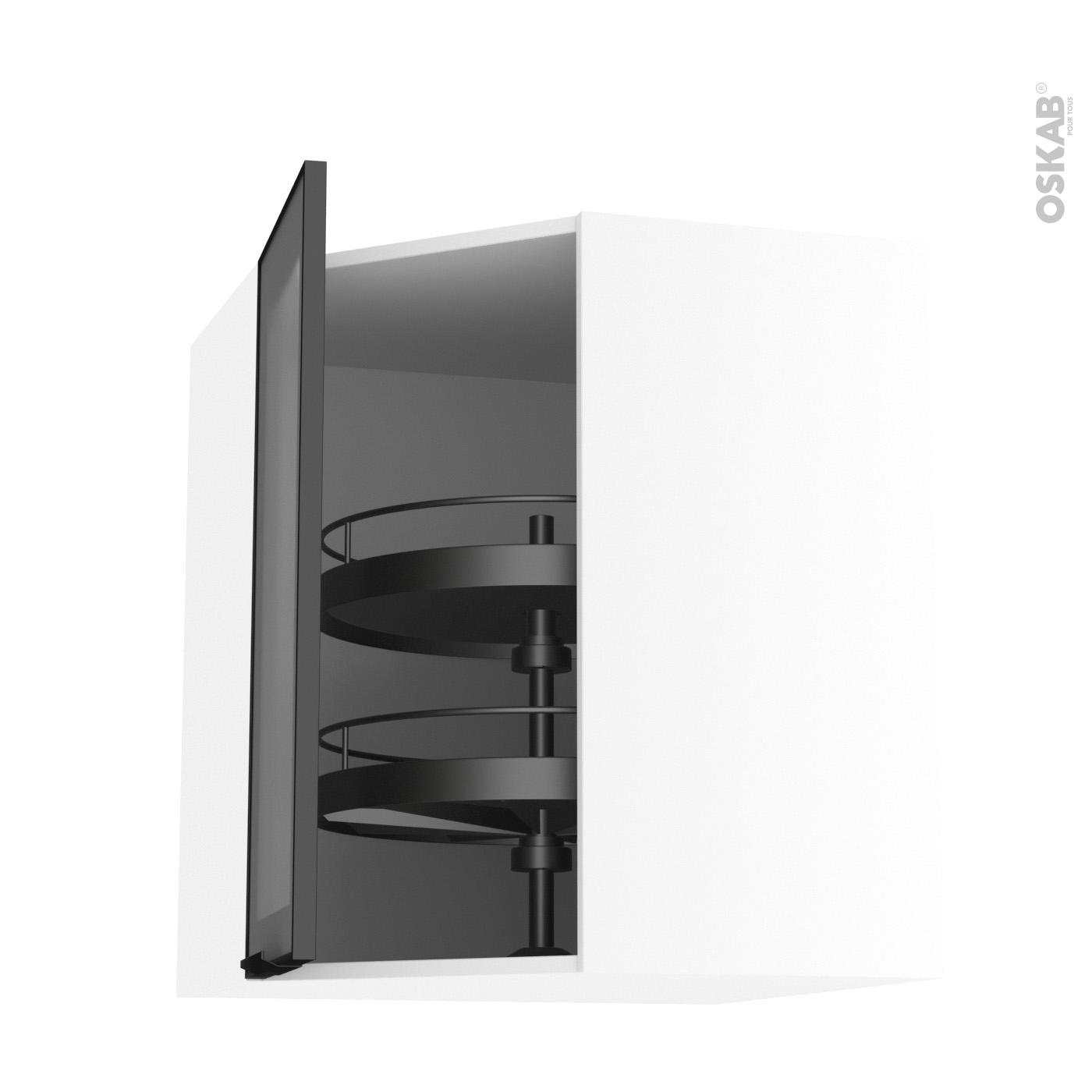Meuble Cuisine Ikea Vide Sanitaire meuble de cuisine angle haut vitré façade noire alu, tourniquet 1 porte  n°19 l40 cm, l65 x h70 x p37 cm, sokleo