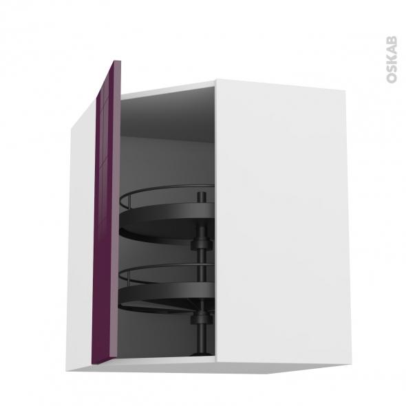 Meuble de cuisine - Angle haut - KERIA Aubergine - Tourniquet 1 porte N°19 L40 cm - L65 x H70 x P37 cm