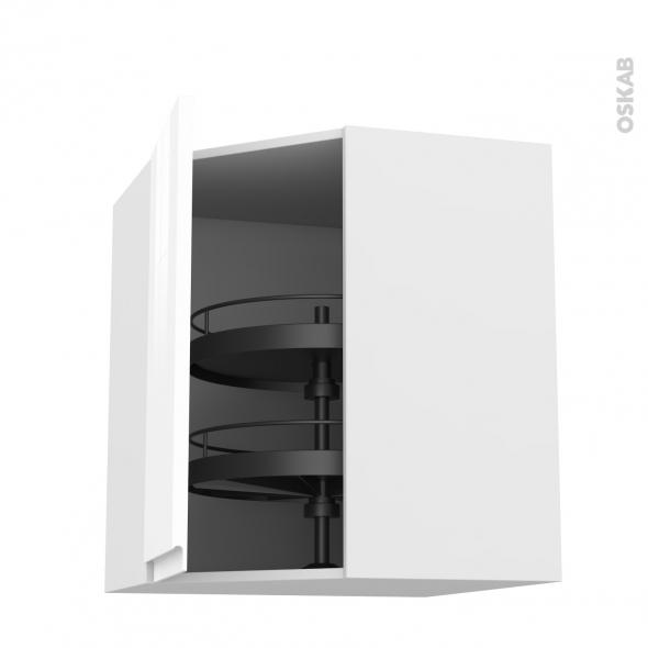 Meuble de cuisine - Angle haut - IPOMA Blanc brillant - Tourniquet 1 porte N°86 L40 cm - L65 x H92 x P37 cm