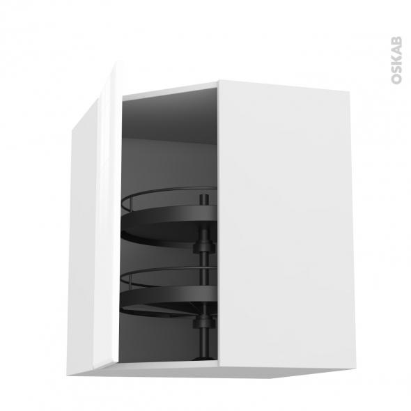 Meuble de cuisine - Angle haut - IRIS Blanc - Tourniquet 1 porte N°19 L40 cm - L65 x H70 x P37 cm