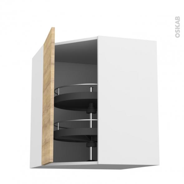 BASILIT Bois Brut - Meuble angle haut - Tourniquet 1 porte N°19 L40 - L65xH70xP37