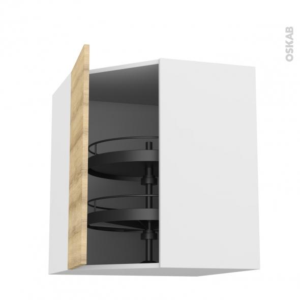 Meuble de cuisine - Angle haut - HOSTA Chêne naturel - Tourniquet 1 porte N°19 L40 cm - L65 x H70 x P37 cm