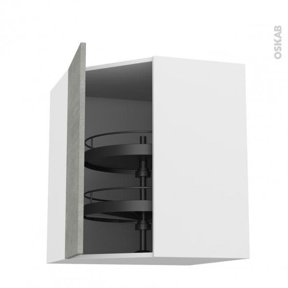 FAKTO Béton - Meuble angle haut - Tourniquet 1 porte N°23 L40 - L65xH92xP37