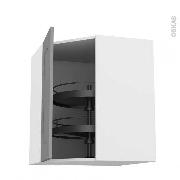 Meuble de cuisine - Angle haut - FILIPEN Gris - Tourniquet 1 porte N°19 L40 cm - L65 x H70 x P37 cm