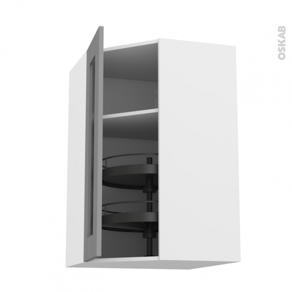 Meuble de cuisine Angle haut vitré FILIPEN Gris Tourniquet 1 porte N°84 L40  cm L65 x H92 x P37 cm - Oskab