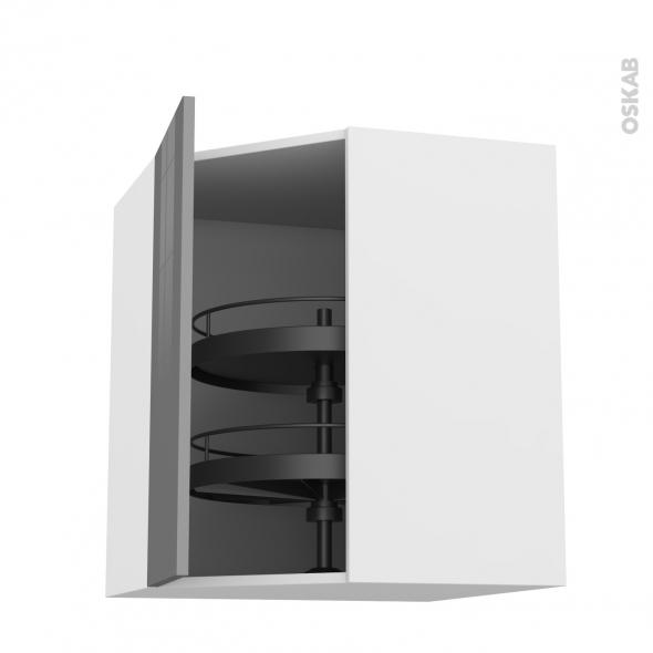 Meuble de cuisine - Angle haut - STECIA Gris - Tourniquet 1 porte N°19 L40 cm - L65 x H70 x P37 cm