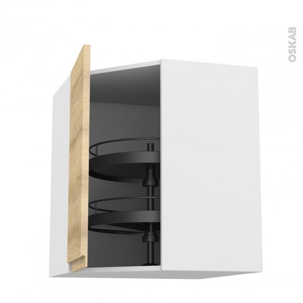 Meuble de cuisine - Angle haut - IPOMA Chêne naturel - Tourniquet 1 porte N°86 L40 cm - L65 x H92 x P37 cm