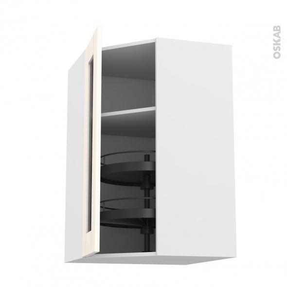 Meuble de cuisine - Angle haut vitré - FILIPEN Ivoire - Tourniquet 1 porte N°84 L40 cm - L65 x H92 x P37 cm