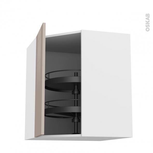 Meuble de cuisine - Angle haut - KERIA Moka - Tourniquet 1 porte N°23 L40 cm - L65 x H92 x P37 cm
