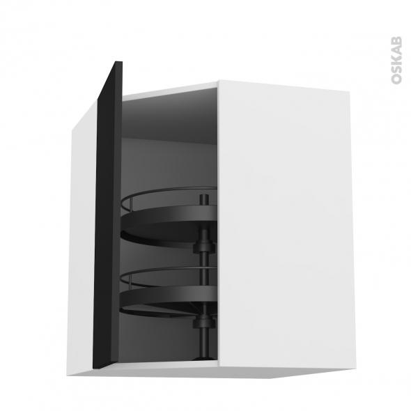 Meuble de cuisine - Angle haut - GINKO Noir - Tourniquet 1 porte N°23 L40 cm - L65 x H92 x P37 cm