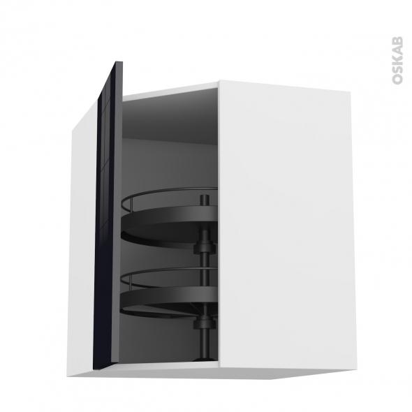 Meuble de cuisine - Angle haut - KERIA Noir - Tourniquet 1 porte N°23 L40 cm - L65 x H92 x P37 cm