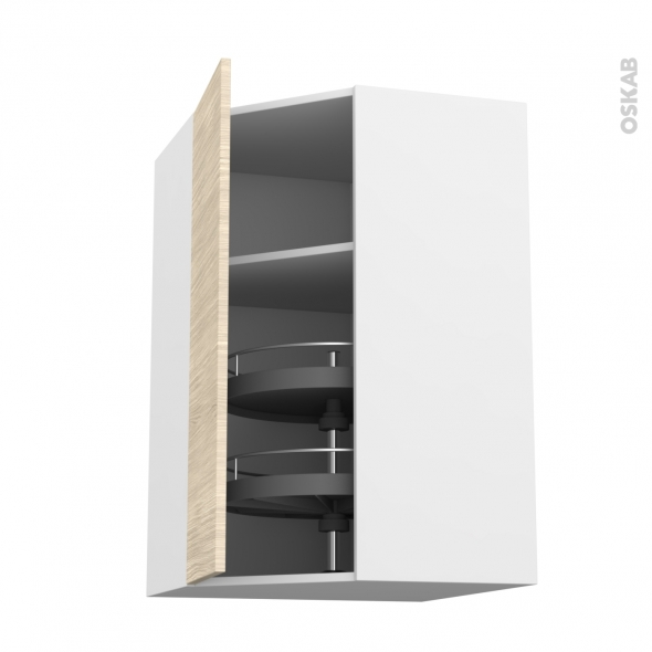 STILO Noyer Blanchi - Meuble angle haut - Tourniquet 1 porte N°19 L40 - L65xH70xP37