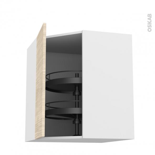 Meuble de cuisine - Angle haut - STILO Noyer Blanchi - Tourniquet 1 porte N°19 L40 cm - L65 x H70 x P37 cm