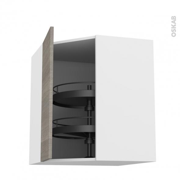 Meuble de cuisine - Angle haut - STILO Noyer Naturel - Tourniquet 1 porte N°19 L40 cm - L65 x H70 x P37 cm
