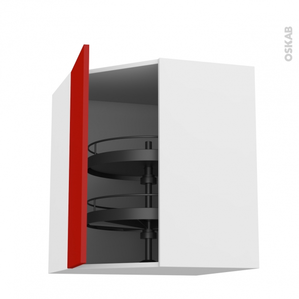 GINKO Rouge - Meuble angle haut - Tourniquet 1 porte N°23 L40 - L65xH92xP37