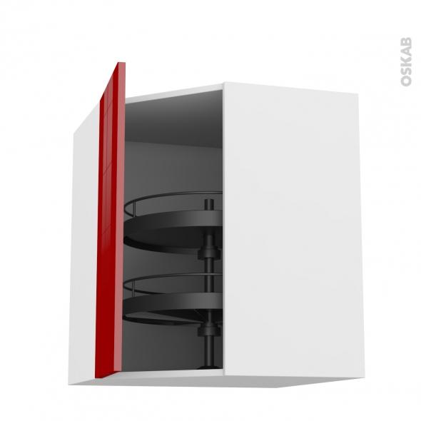 Meuble de cuisine - Angle haut - STECIA Rouge - Tourniquet 1 porte N°19 L40 cm - L65 x H70 x P37 cm