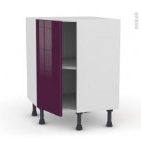 Meuble de cuisine - Angle bas - KERIA Aubergine - 1 porte N°19 L40 cm - L65 x H70 x P37cm