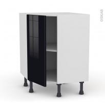 Meuble de cuisine - Angle bas - KERIA Noir - 1 porte N°19 L40 cm - L65 x H70 x P37cm