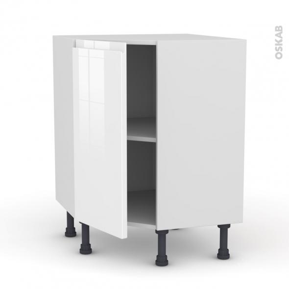 Meuble de cuisine - Angle bas - IPOMA Blanc brillant - 1 porte N°19 L40 cm - L65 x H70 x P37cm