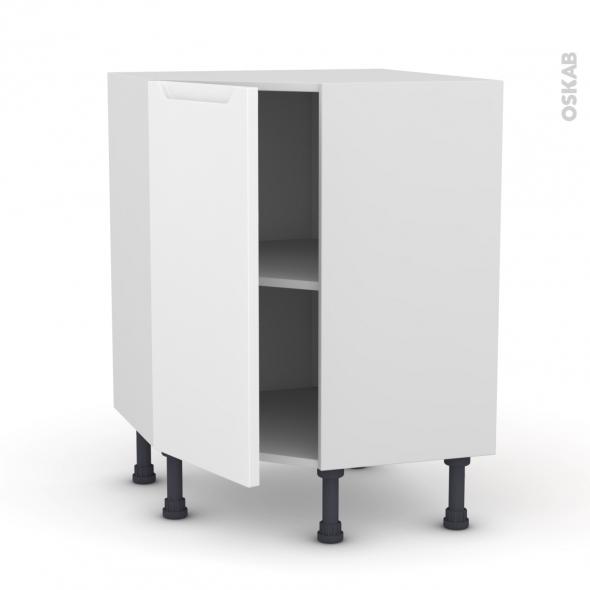 Meuble de cuisine - Angle bas - PIMA Blanc - 1 porte N°19 L40 cm - L65 x H70 x P37cm