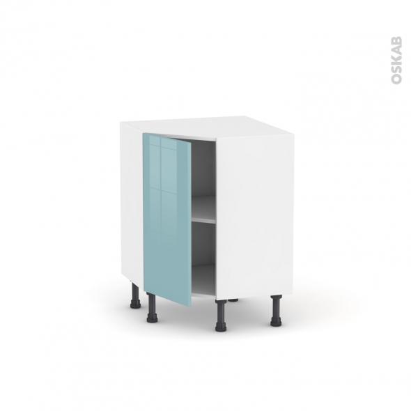 Meuble de cuisine - Angle bas - KERIA Bleu - 1 porte N°19 L40 cm - L65 x H70 x P37cm