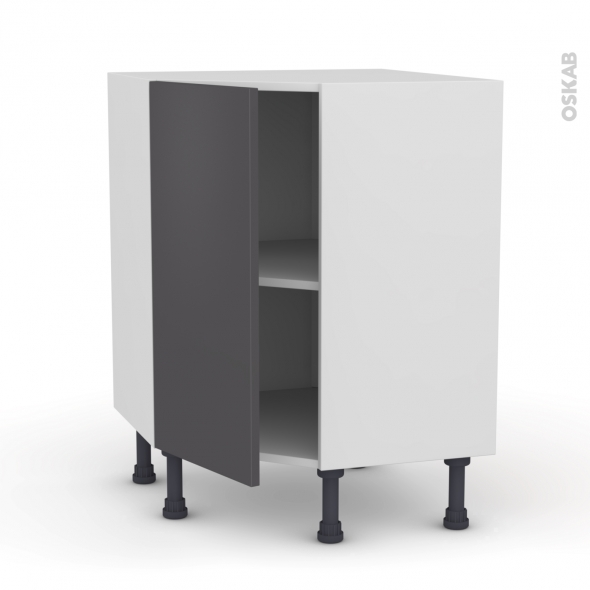 Meuble de cuisine - Angle bas - GINKO Gris - 1 porte N°19 L40 cm - L65 x H70 x P37cm