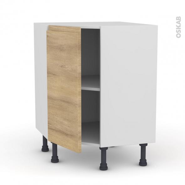 Meuble de cuisine - Angle bas - IPOMA Chêne naturel - 1 porte N°19 L40 cm - L65 x H70 x P37cm